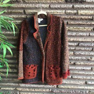 Coldwater Creek Patchwork Knit Cardigan Sweater